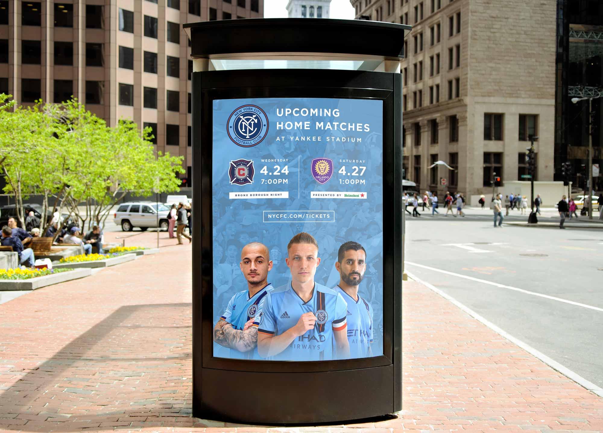 NYCFC Bus Board Mock Up Ad
