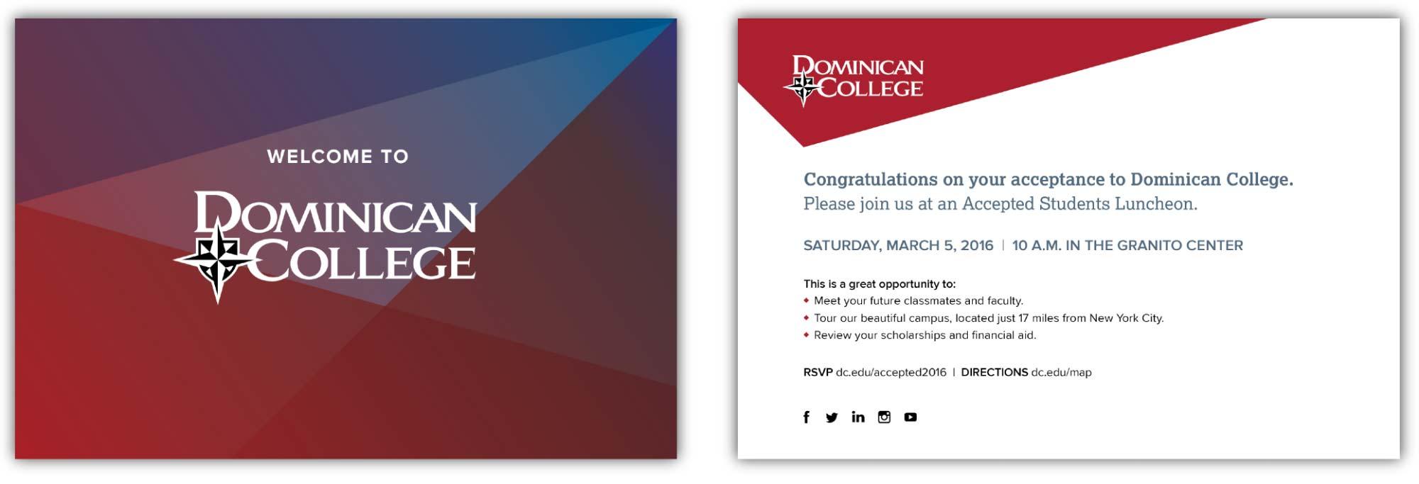 Domician College Acceptance Postcard Mockup