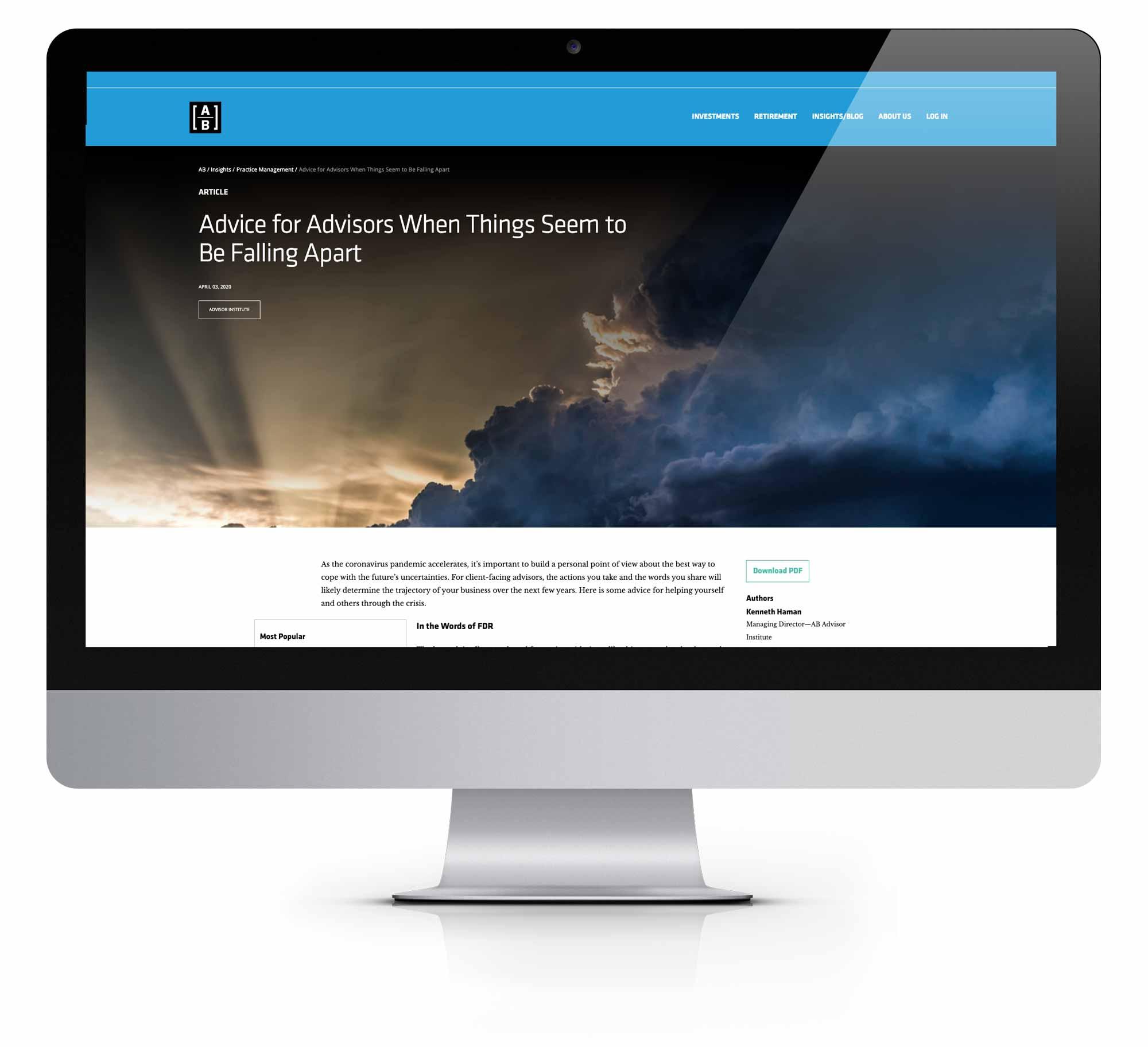 AllianceBernstein Landing Page Mockup